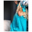 Pull en laine mohair bleu turquoise