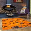 Tapis patchwork en peaux de vache orange